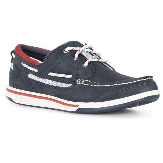 Blue Navy Triton Leather Boat Shoe