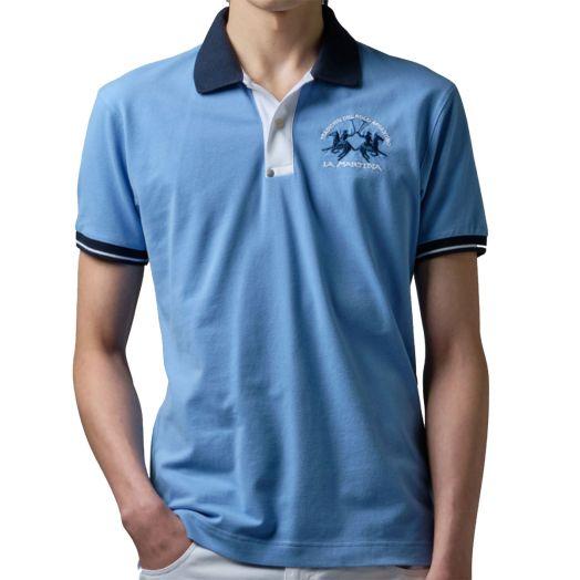 Cornflower Blue slim-fit stretch piqué polo shirt