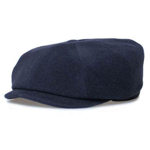 Navy Hatteras Virgin Wool Cashmere Flat cap