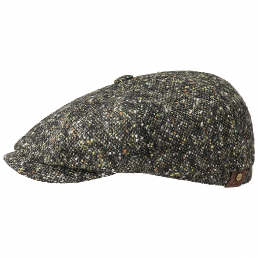 Olive-Black Donegal Tweed Hatteras Flat Cap