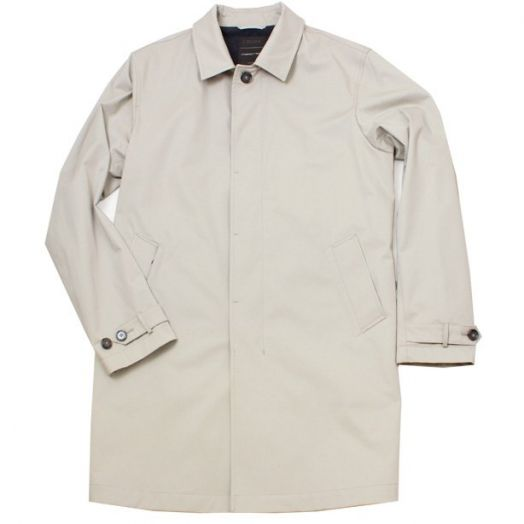 Stone Cotton Blend Compact Twill Raincoat
