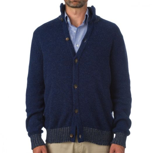 The Stroma High Neck Ribbed 4ply Cashmere Cardigan