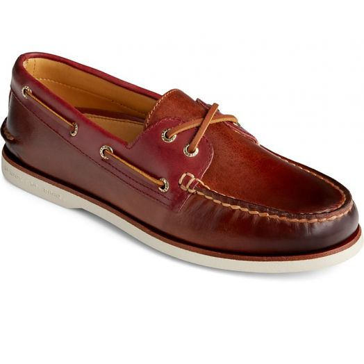 Brown / Red Men's Gold Cup Authentic Original Camden Boat Shoe