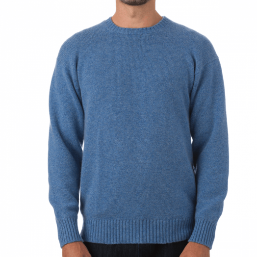 The Talisker 3ply Crew Neck Cashmere Sweater - Lapis - Suez