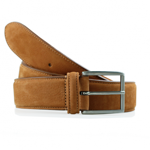 Tan Suede 100% Calf Leather Belt