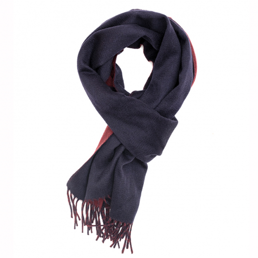 Navy & Wine Double Faced 100% Cashmere Scalf