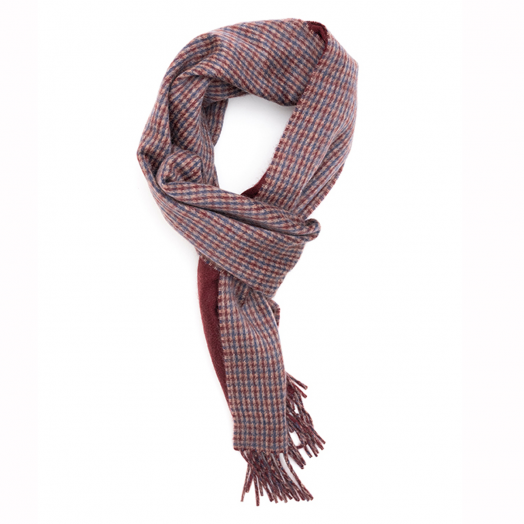 Claret & Beige Double Faced 100% Cashmere Scalf
