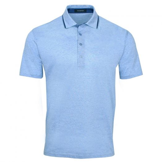 Tonal Blue Fine Stripe Cotton Polo Shirt