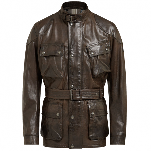 Black Brown Trialmaster Panther Leather Jacket