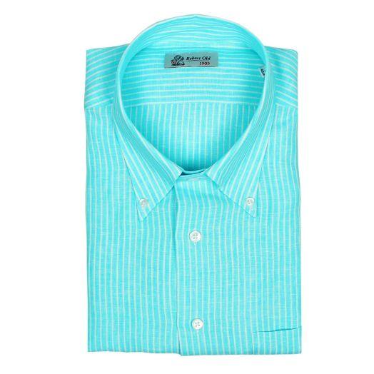Turquoise & White Stripe Linen Short Sleeve Shirt