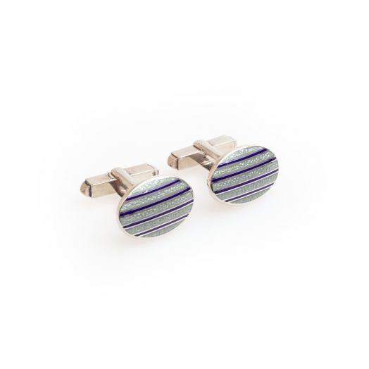 Turquoise Stripe Sterling Silver Cufflinks