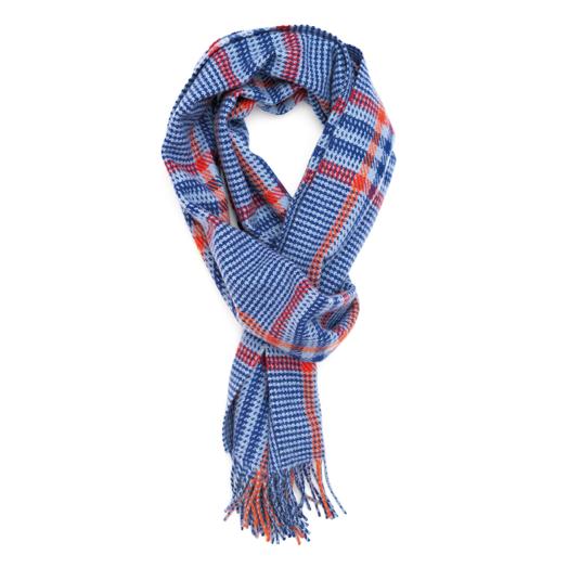 Blue, Orange & Red Heritage Tweed 100% Cashmere Scarf