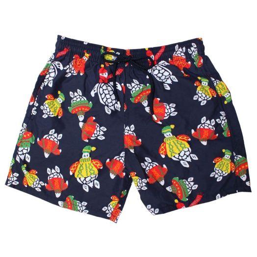 Navy Winter Turtles Moorea Fit Swim Shorts
