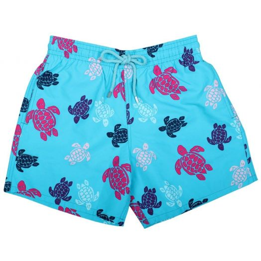 Blue Multicolour Turtles Moorea Fit Shorts