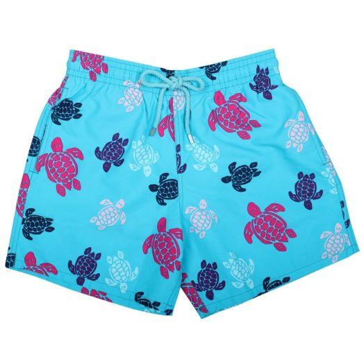 Blue Multicolour Turtles Moorea Fit Shorts