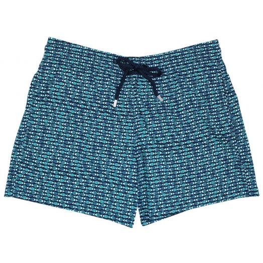 Navy and Blue Modernist Fish Moorise Stretch Swim Shorts