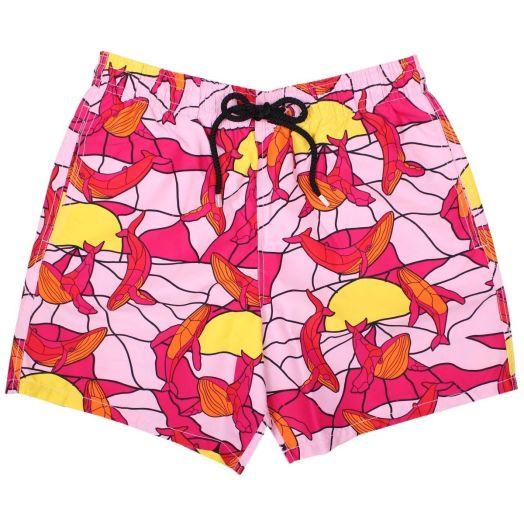 Pink Magic Whales Moorea Fit Swim Shorts