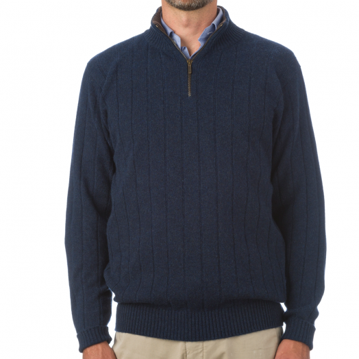 The Wellington Cashmere Ribbed Zip Neck Sweater - Cosmos - Porcupine
