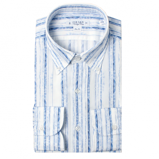 White & Blue Faded Stripe Print Cotton Shirt
