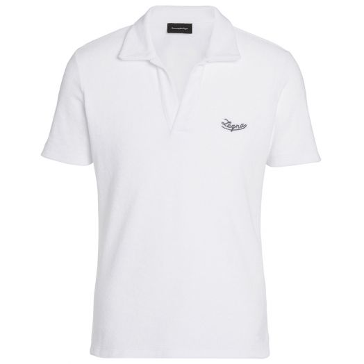 White Cotton Towelling Polo Shirt