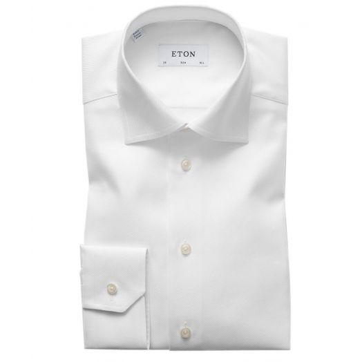 White Diagonal Weave Slim Fit Shirt