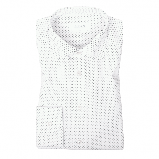 White and Navy Micro Crosses Slim Fit Shirt