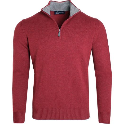Red Virgin Wool & Cashmere Blend Zip Neck Sweater