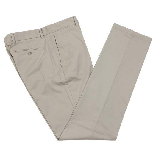 Beige Slim Fit Stretch Cotton Chinos