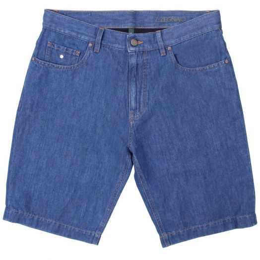 Classic Blue Denim Cotton Shorts
