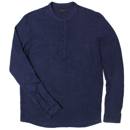 Navy Linen Blend Button T-Shirt