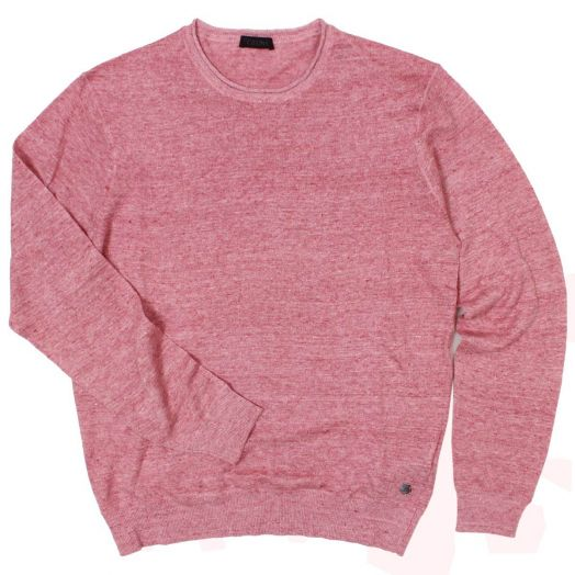 Red Melange Linen Cotton Blend Sweater