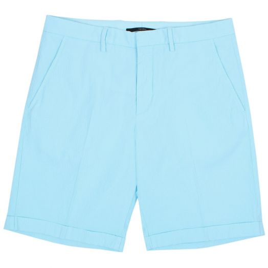 Turquoise Seersucker Tapered Shorts
