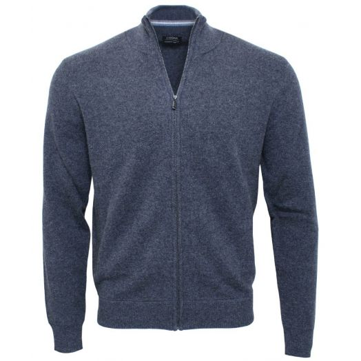 Charcoal Grey Cashmere Blend Full Zip Sweater