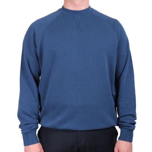 Avio Blue Cotton & Linen Crewneck Sweatshirt