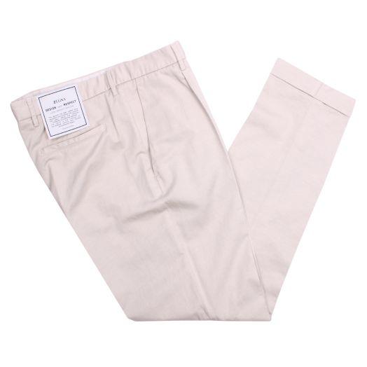 Beige Cotton & Linen Trousers