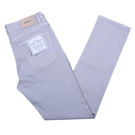 Beige Garment Dyed Stretch Slim Fit Jeans