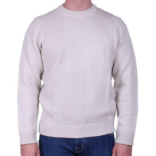 Beige Woven Patchwork Wool Crewneck Sweater