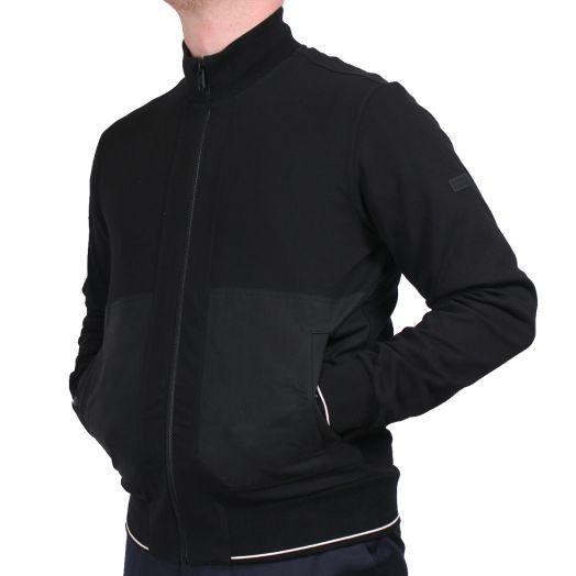 Black Detail Stretch Zip-Up Tracksuit Sweatshirt