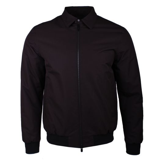 Black Microtene Collared Bomber Jacket