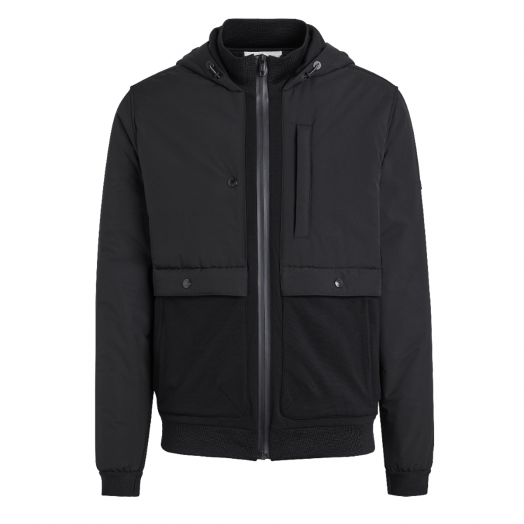 Black Technical Fabric Hoodie Jacket