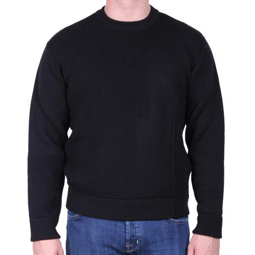 Black Woven Patchwork Wool Crewneck Sweater