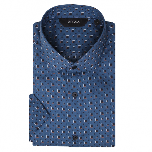Blue Geometric Pattern Short Sleeve Slim Fit Shirt