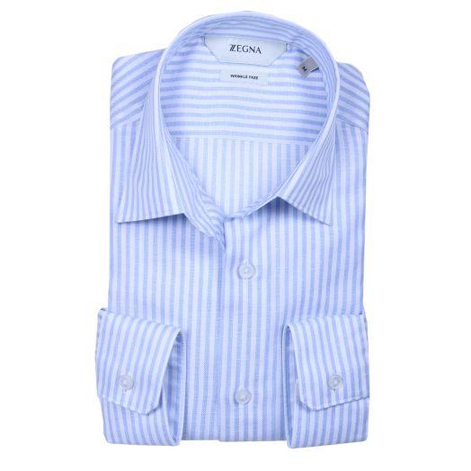 Blue & White Stripe Wrinkle Free Slim Fit Shirt