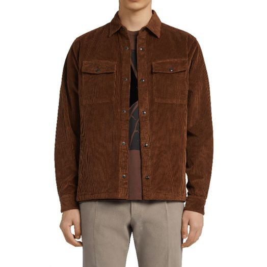 Brown Cotton Corduroy Overshirt
