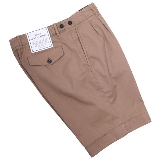Coffee-Brown Stretch Cotton Weave Chino Shorts