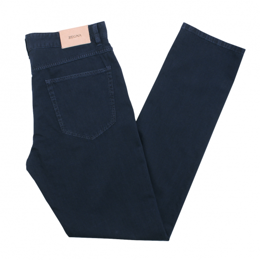 Dark Blue Slim Fit Blend Chino Trousers