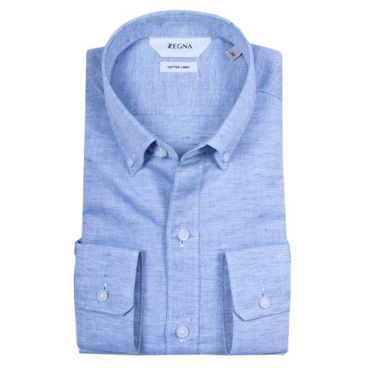 Light Blue Cotton & Linen Slim Fit Shirt