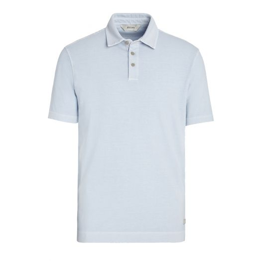 Light Blue Stretch Cotton Short-Sleeve Polo