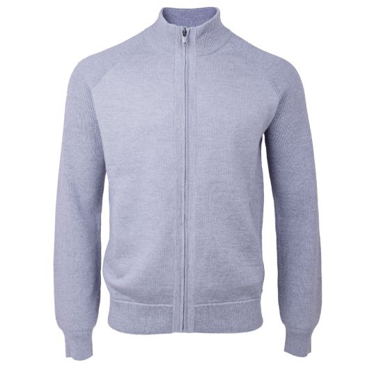 Light Grey Wool Knitted Zip-Up Sweater