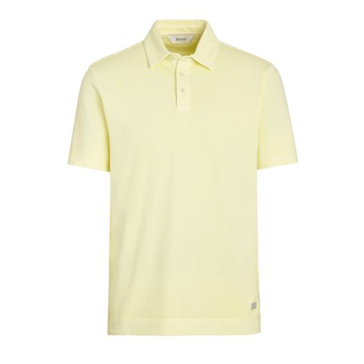Light Yellow Stretch Cotton Short-Sleeve Polo